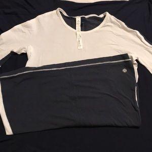 Lululemon T-shirt sz 4 gently used White and navy